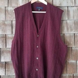 Club Room 100% Wool Sweater Vest Button XL